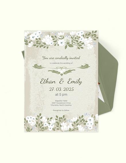 Vintage Wedding Invitation Card Download