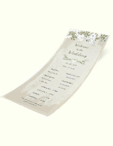 Simple Vintage Wedding Program Card