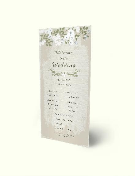 Vintage Wedding Program Card Download