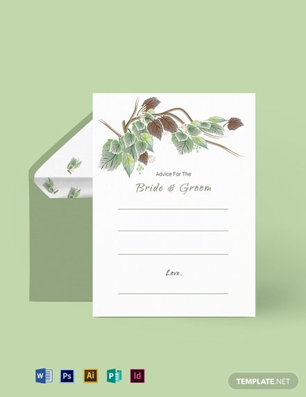 Fall Wedding Advice Card Template