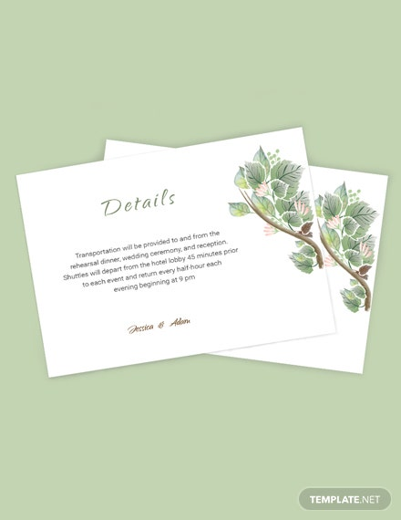 Simple Fall Wedding Details Card Template