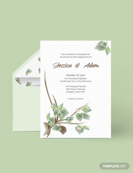 Download Fall Wedding Engagement Announcement card Template