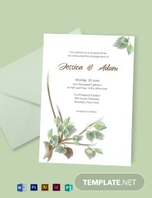 Fall Wedding Engagement Announcement Card Template