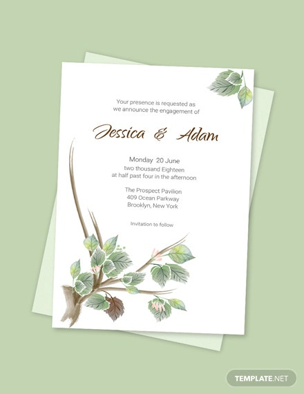 Simple Fall Wedding Engagement Announcement card Template
