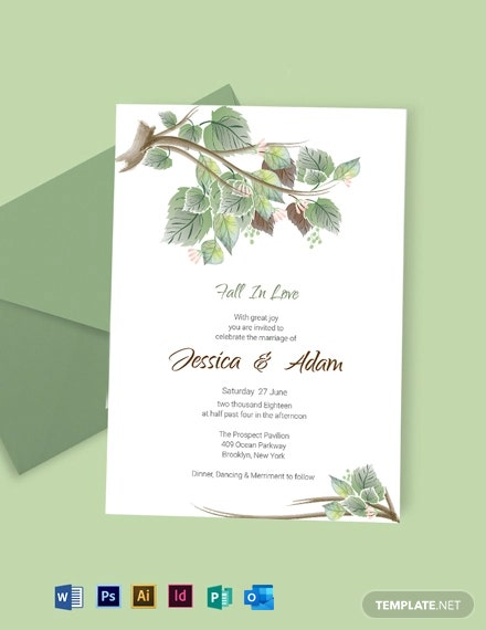 Fall Wedding Invitation Card Template