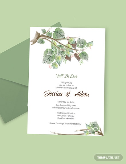 Simple Fall Wedding Invitation Card Template