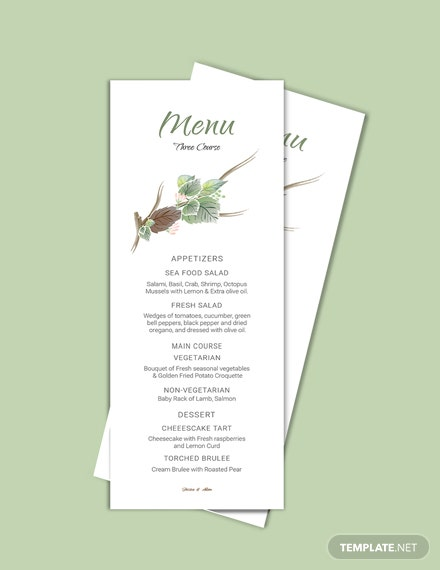 Download Fall Wedding Menu Card Template