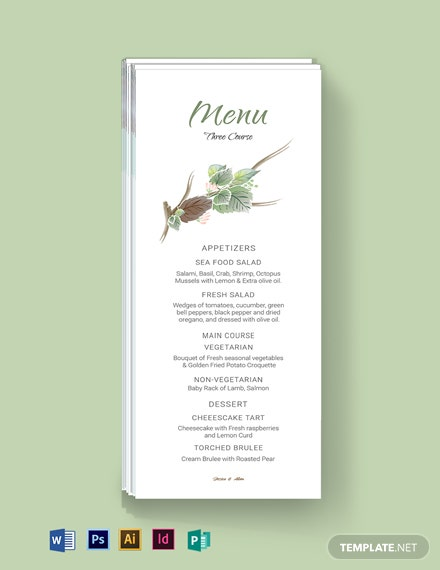 Fall Wedding Menu Card Template