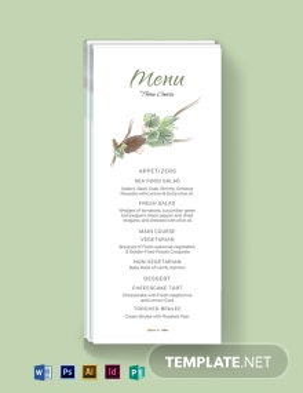 Fall Wedding Menu Card Template