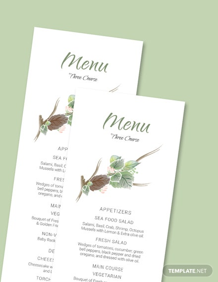 Simple Fall Wedding Menu Card Template