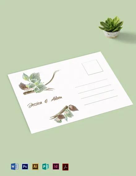 Fall Wedding Post Card Template