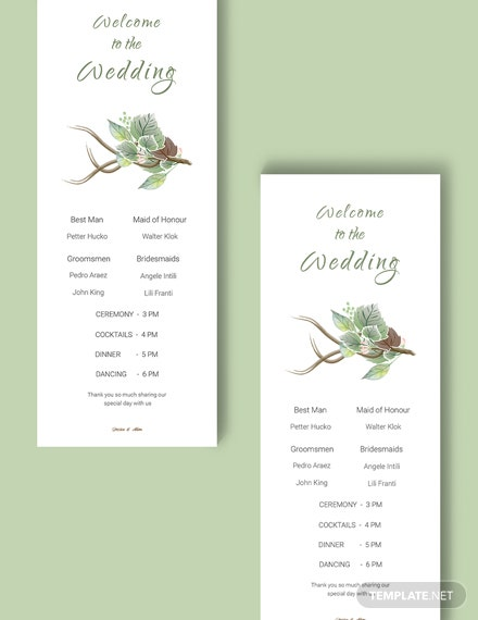 Download Fall Wedding Program Card Template