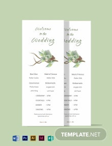 Fall Wedding Program Card Template