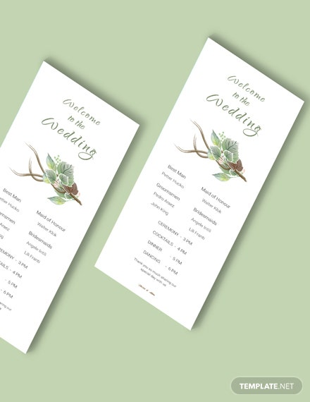 Simple Fall Wedding Program Card Template