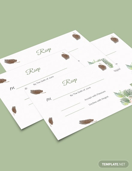 Simple Fall Wedding RSVP Card Template