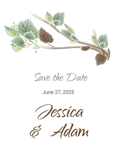 Fall Wedding Save The Date Card Template.jpe