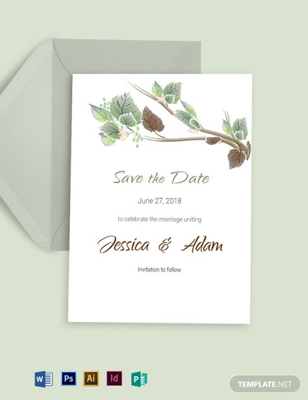 Fall Wedding Save The Date Card Template