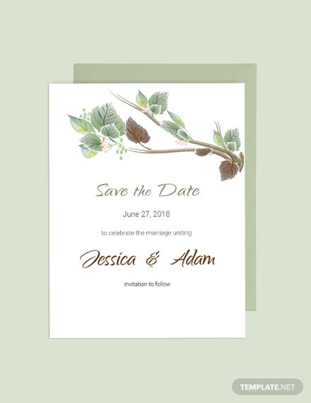Simple Fall Wedding Save The Date Card Template