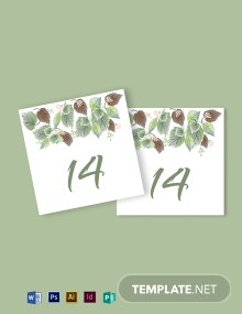 Fall Wedding Table Card Template
