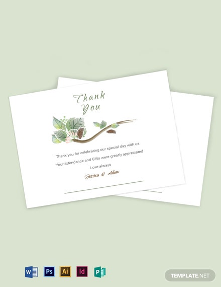 Fall Wedding Thank You Card Template