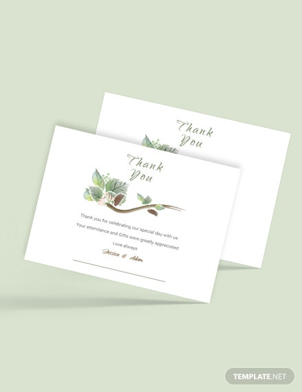 Simple Fall Wedding Thank You Card Template