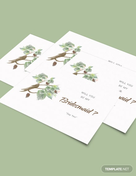 Download Fall Wedding Will You Be My Bridesmaid Card Template