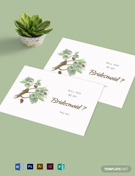 Fall Wedding Will You Be My Bridesmaid Card Template