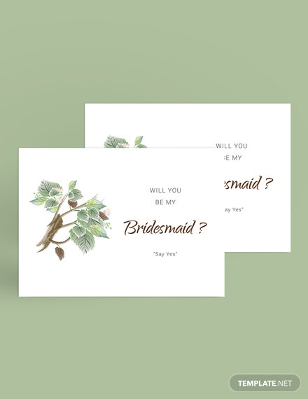 Simple Fall Wedding Will You Be My Bridesmaid Card Template