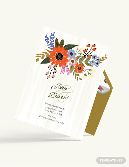Sample Small Flower Wedding Engagement Card
