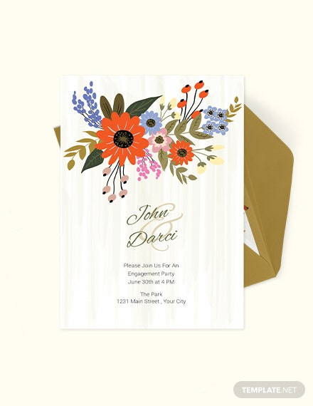 Small Flower Wedding Engagement Card Template Download