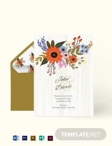Small Flower Wedding Engagement Card Template
