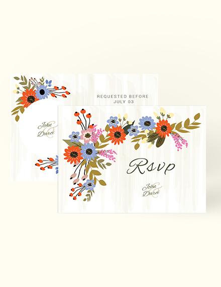 Sample Small Flower Wedding RSVP Card