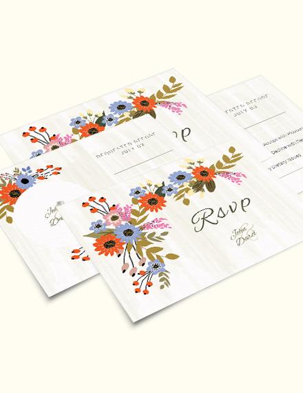 Small Flower Wedding RSVP Card Download