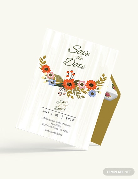 Sample  Small Flower Wedding save The Date Card
