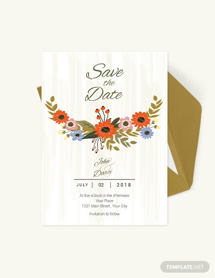 Small Flower Wedding save The Date Card Download