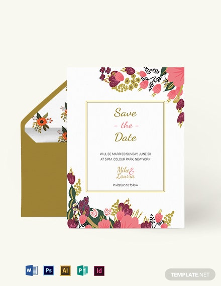 Small Flower Wedding Save The Date Card Template