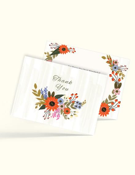 Sample Small Flower Wedding Thank You Card