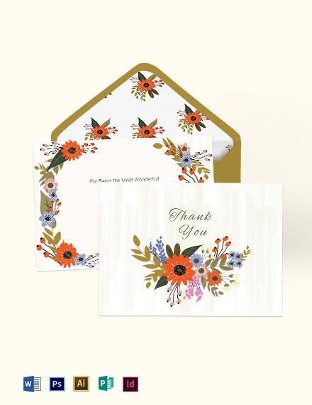 Small Flower Wedding Thank You Card