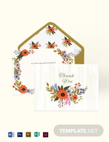 Small Flower Wedding Thank You Card Template