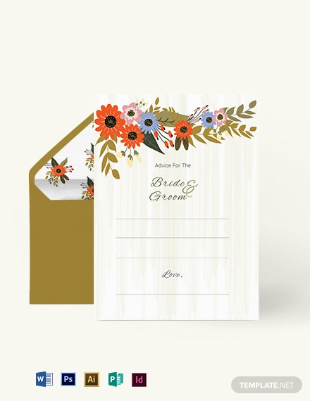 Small Flower Wedding Advice Card Template