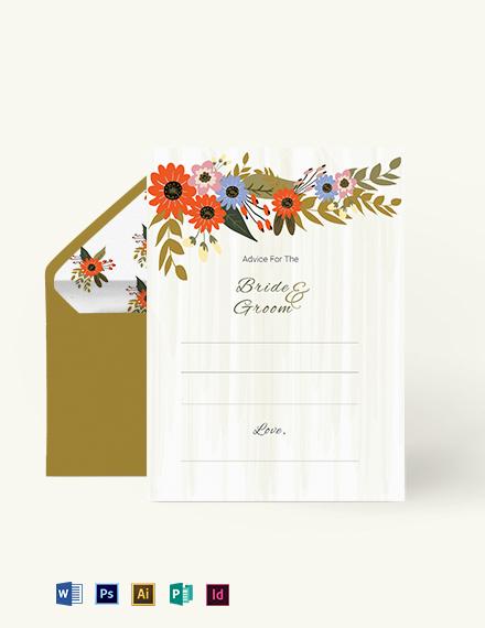 Small Flower Wedding Advice Card Template