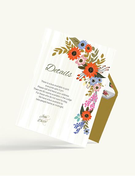Sample Small Flower Wedding Details Card