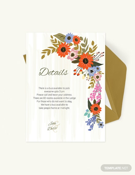 Small Flower Wedding Details Card Download