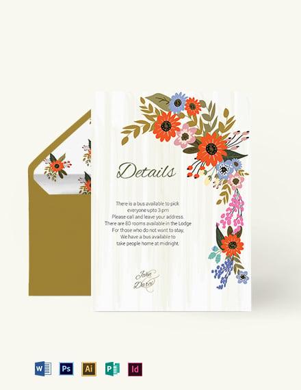 Small Flower Wedding Details Card Template