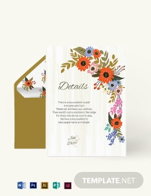 Small Flower Wedding Details Card Template