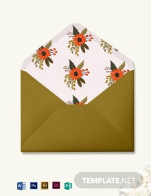Small Flower Wedding Envelope Template