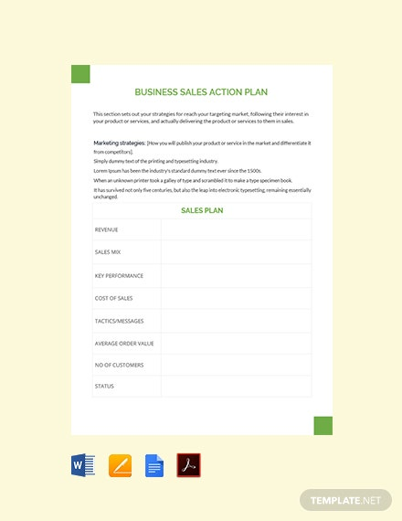 Free Business Sales Action Plan Template