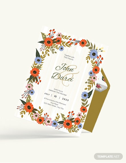 Sample Small Flower Wedding Invitation Card