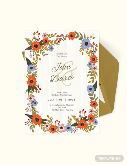 Small Flower Wedding Invitation Card Download