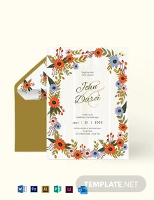 Small Flower Wedding Invitation Card Template